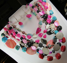 HUGE 1 POUND Lot Pink Red Blue Stone Toggle Clasp Beaded Necklaces Earrings WOW! - $29.70