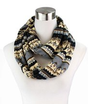 Le Nom Cross Stitch Look Holiday Pattern Infinity Scarf (Brown) - $12.86
