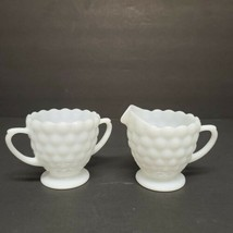 Vintage Milk Glass Open Sugar and Creamer Dish Bubble Design - $15.47