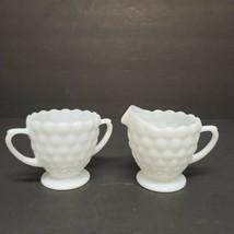 Vintage Milk Glass Open Sugar and Creamer Dish Bubble Design - $12.26