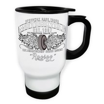 Motorcycle 1987 Racing Biker  White/Steel Travel 14oz Mug z891t - $17.93