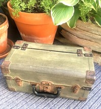 ANTIQUE FISHING TACKLE BOX Metal Green tone - $123.75