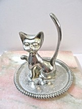 MID CENTURY ETCHED SILVER TONE CAT JEWELRY RING HOLDER AND TRAY DISH VIN... - $23.00