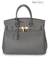25cm Pebbled Italian Leather Lock and Key Celebrity Style Handbag Satche... - $149.95