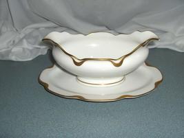 VntgHaviland Silver Anniversary Gravy Boat & Under Plate Tiny Chip Under... - $24.75