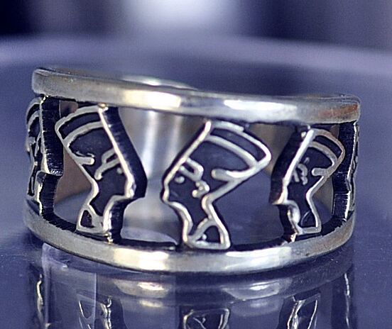 QUEEN NEFERTITI Egyptian Ring Egypt Solid sterling silver 925 Jewelry New