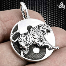 Japanese Four Guardian Tiger Pendant Sterling Silver Onyx Martial Arts M... - $54.90