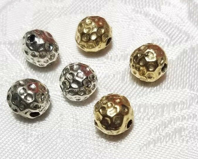 HAMMERED DIMPLED FINE PEWTER BEAD  - 7mm L x 7mm W x 7mm D; Hole 1.5mm