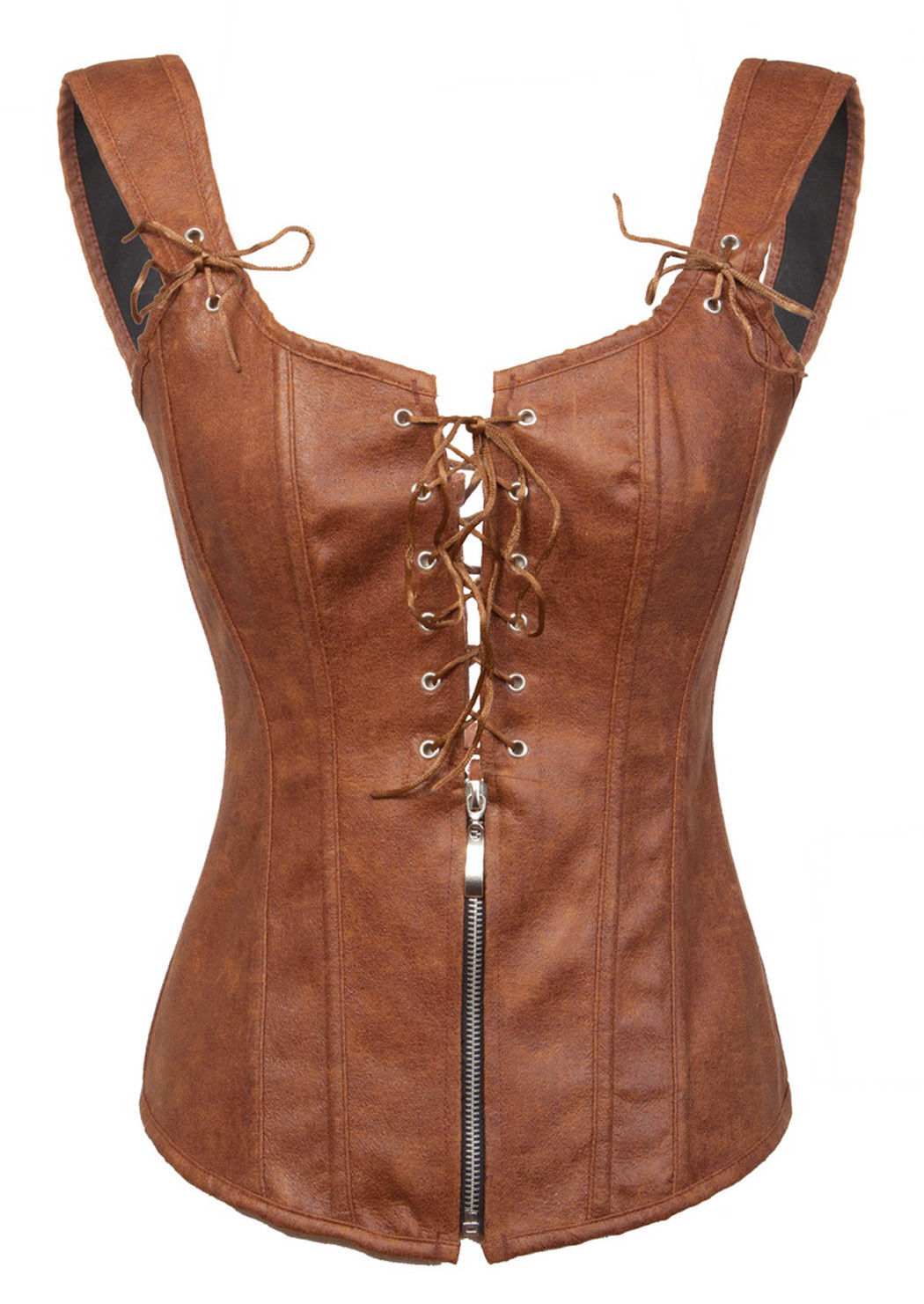 Brown Leather Lace Zip Shoulder Straps Gothic Steampunk Bustier Overbust Corset