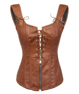 Brown Leather Lace Zip Shoulder Straps Gothic Steampunk Bustier Overbust... - $65.83+