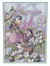 Dimensions Gold Collection Chickadees in Spring Cross Stitch Kit 6884 Birds   - $17.07