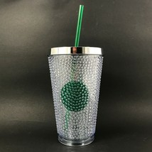 Starbucks Clear Studded 16oz Tumbler With Green Dot 2014 - $18.61