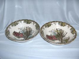 """2 Vintage Johnson Bros China Friendly Village Round 8"""" Serving Bowls Autumn Mist - $64.35"""