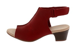 Clarks Collection Leather Heeled Sandals- Valarie James Red 9.5M NEW A34... - $64.33