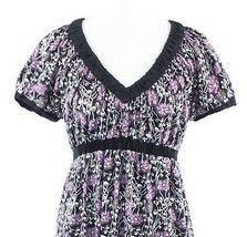 Black purple floral print BCBG MAX AZRIA short sleeve empire waist dress S - $29.99