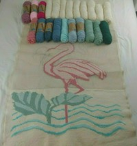"Flamingo Needlepoint Kit Canvas Rug 68""x38"" Palm Tree Wall Hanging Decor... - $88.00"