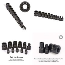 Casoman 11 Pc Female E-Torx Star Socket Set With Rail, Female External S... - $23.63 CAD