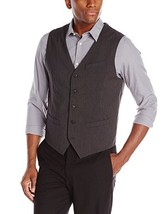 Perry Ellis Men's Fine Stripe 5 Button Black Gray Suit Vest Size Medium - $35.34
