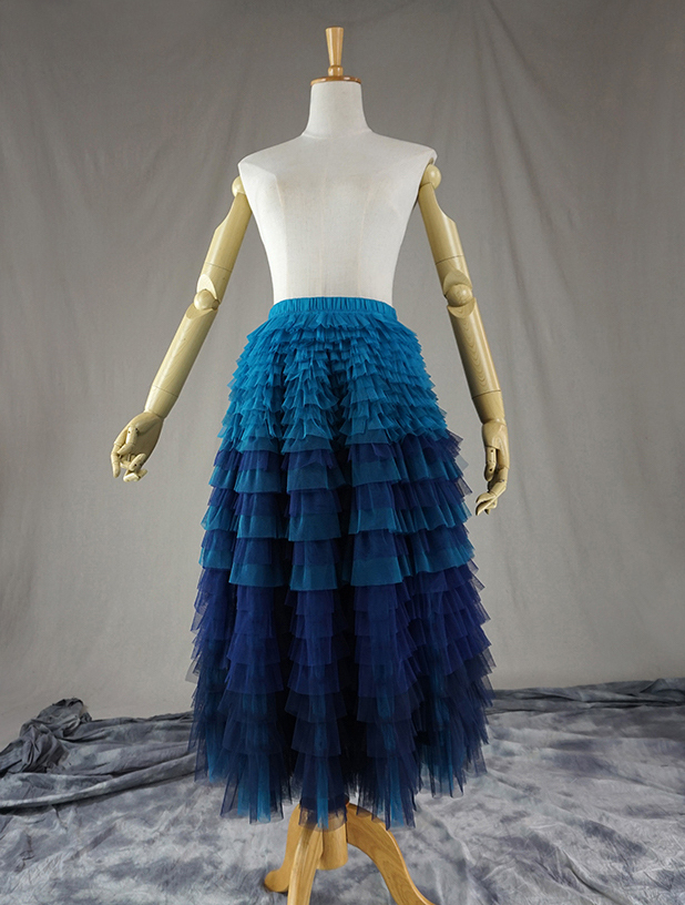 TIERED TULLE Wedding Guest Tulle Skirt Navy Blue High Waisted  Long Tulle Skirts