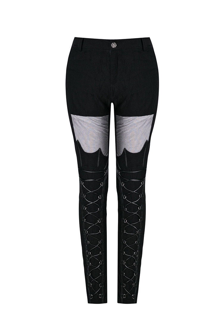 Black Mesh Lace Up Goth Pants Sexy Tight Skinny Bat Wing Fetish Punk Trousers