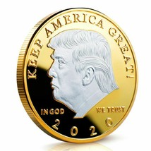 2020 President Donald Trump Silver Gold Plated Commemorative Coin Collec... - $12.08