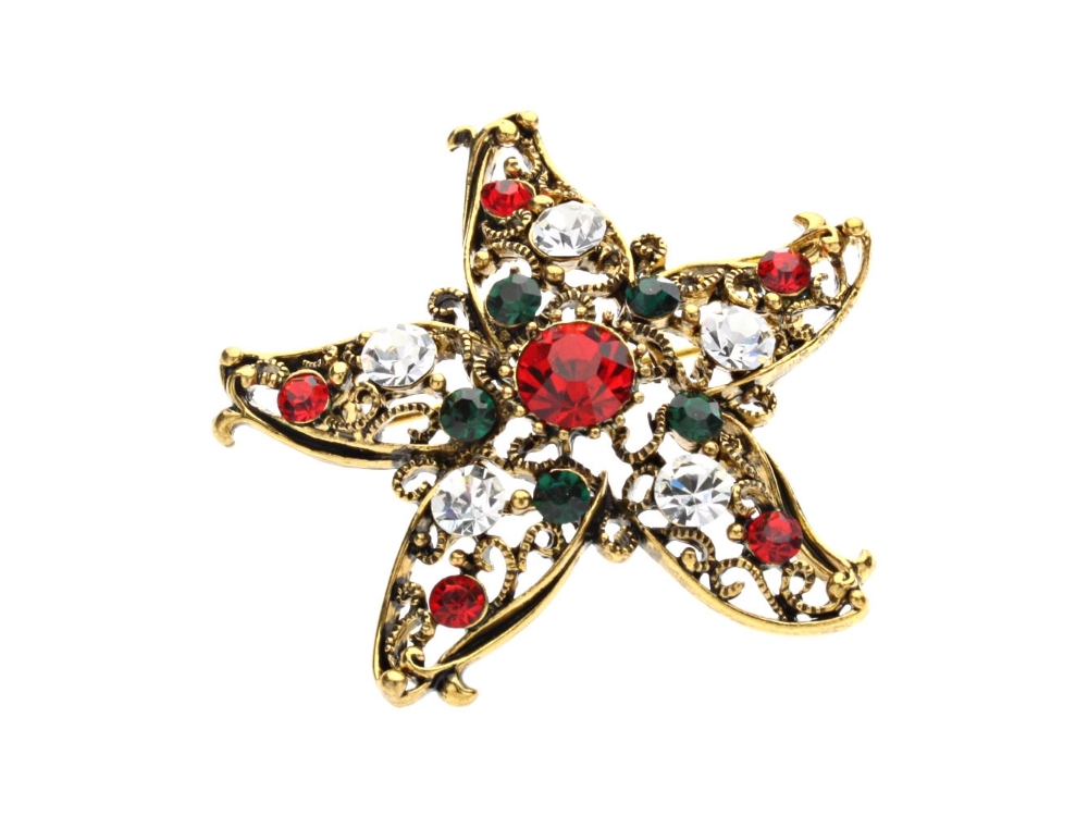 Goldtone Rhinestone Christmas Holiday Star Brooch - $11.95