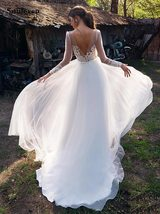 Long Sleeve Lace Embroidered Appliques Deep Illusion V-neck Boho A Line Wedding  image 2