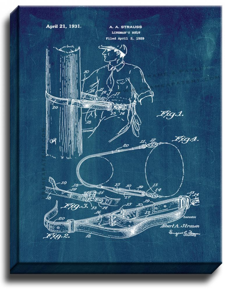 Primary image for Lineman's Belt Patent Print Midnight Blue on Canvas
