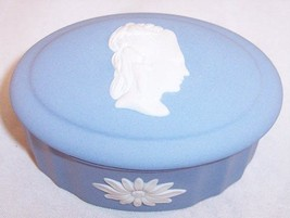 Wedgwood Blue Jasperware Small Oval Trinket Box with Lid (Sarah Wedgwood... - $24.99