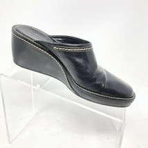 COLE HAAN Black  Size 7  Mules Slides Leather Shoes WEDGE Womens  - $18.99