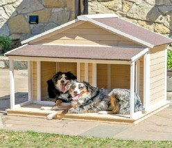 Dog House Wood Insulated Duplex Pet Covered Porch Asphalt Roof Comfort P... - $395.90