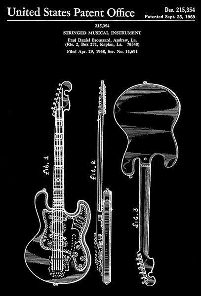 Primary image for 1969 - Guitar - Stringed Musical Instrument - P. Broussard - Patent Art Poster