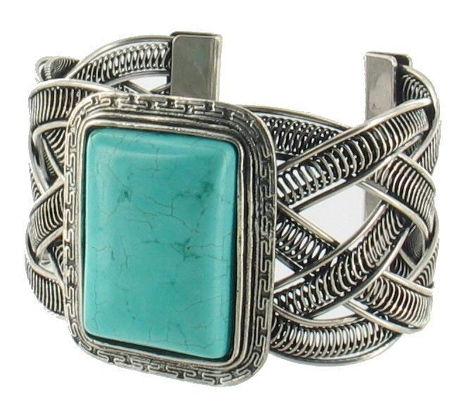 VINTAGE FAUX TURQUOISE SILVER TONE BRAIDED WESTERN CUFF BRACELET BANGLE HUGE