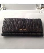 Authentic Miu-Miu Charcoal Gray Long Wallet 7.5in x 4in - $118.70