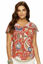 CHAPS Short Sleeve Floral T-shirt Womens Size L Red Dolman MSRP $45 Free... - $9.49