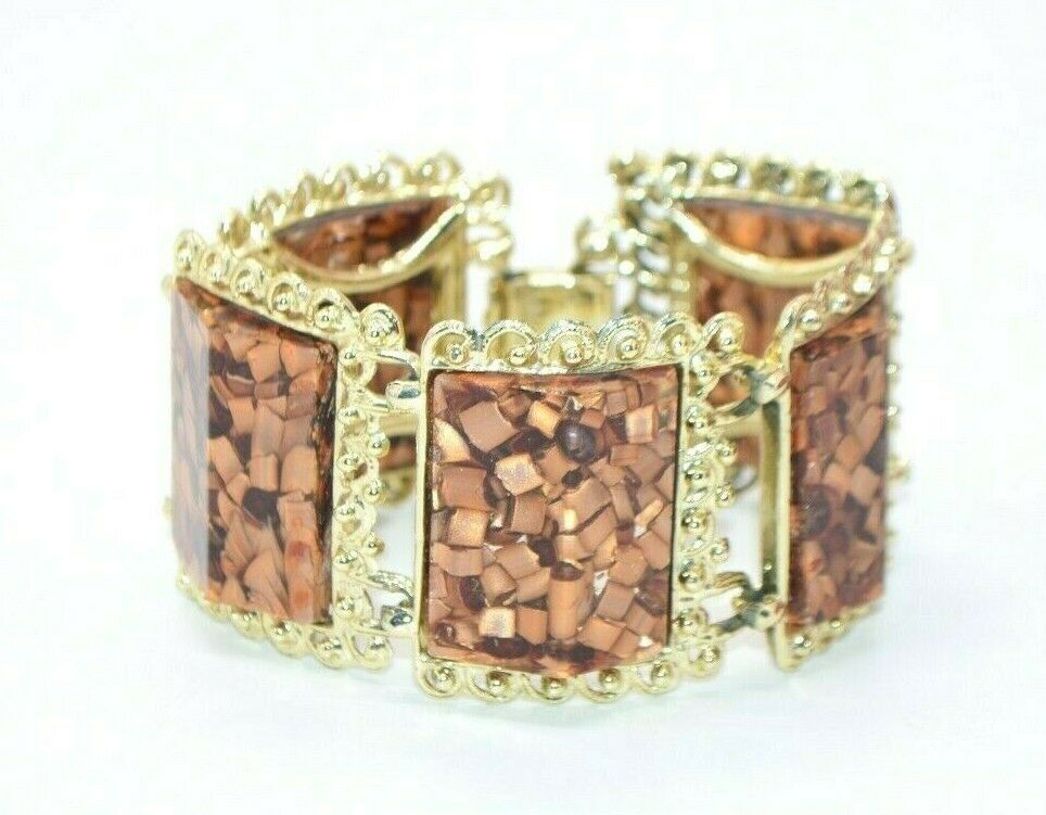 PAM Signed Brown Confetti Lucite Gold Tone Chunky Wide Five Panel Bracelet - $19.79
