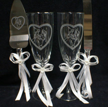 Peter Pan and Wendy LOT Wedding Glasses, Knife, Server, Guest Book pen &... - $93.06