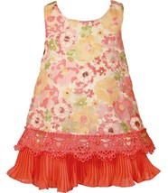 Bonnie Jean Baby Girl 12M-24M Coral Floral Printed Sheer Overlay A-line Social P