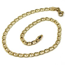 """18K YELLOW GOLD BRACELET 3 MM ROUNDED MARINER OVAL LINKS, 8.1"""" MADE IN ITALY image 1"""
