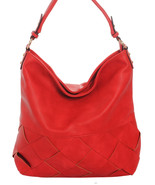 Woven Solid Color Hobo Bag Handbag Shoulder Purse Red - $49.49
