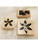 Stampin Up 3 pc Lot Wood Mounted Rubber Stamps 2005 Brushed Flowers Garden - $6.61