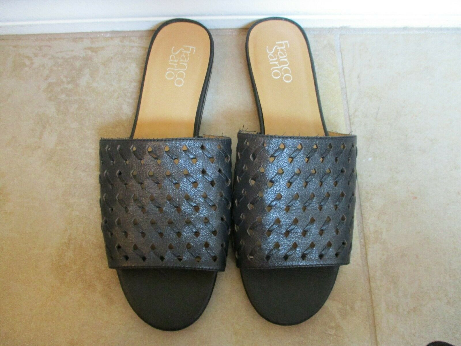 Franco Sarta Black Perforated Leather Mules For Women Size 9 Eur 39.5 image 3