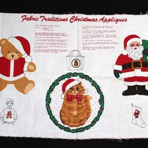 Fabric Traditions Christmas Appliques Fabric Panel Holiday Cat Santa Sto... - $8.99