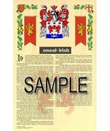 Oneal Coat of Arms (Armorial Name History) Family Crest 11x17 Print Scroll - $18.99
