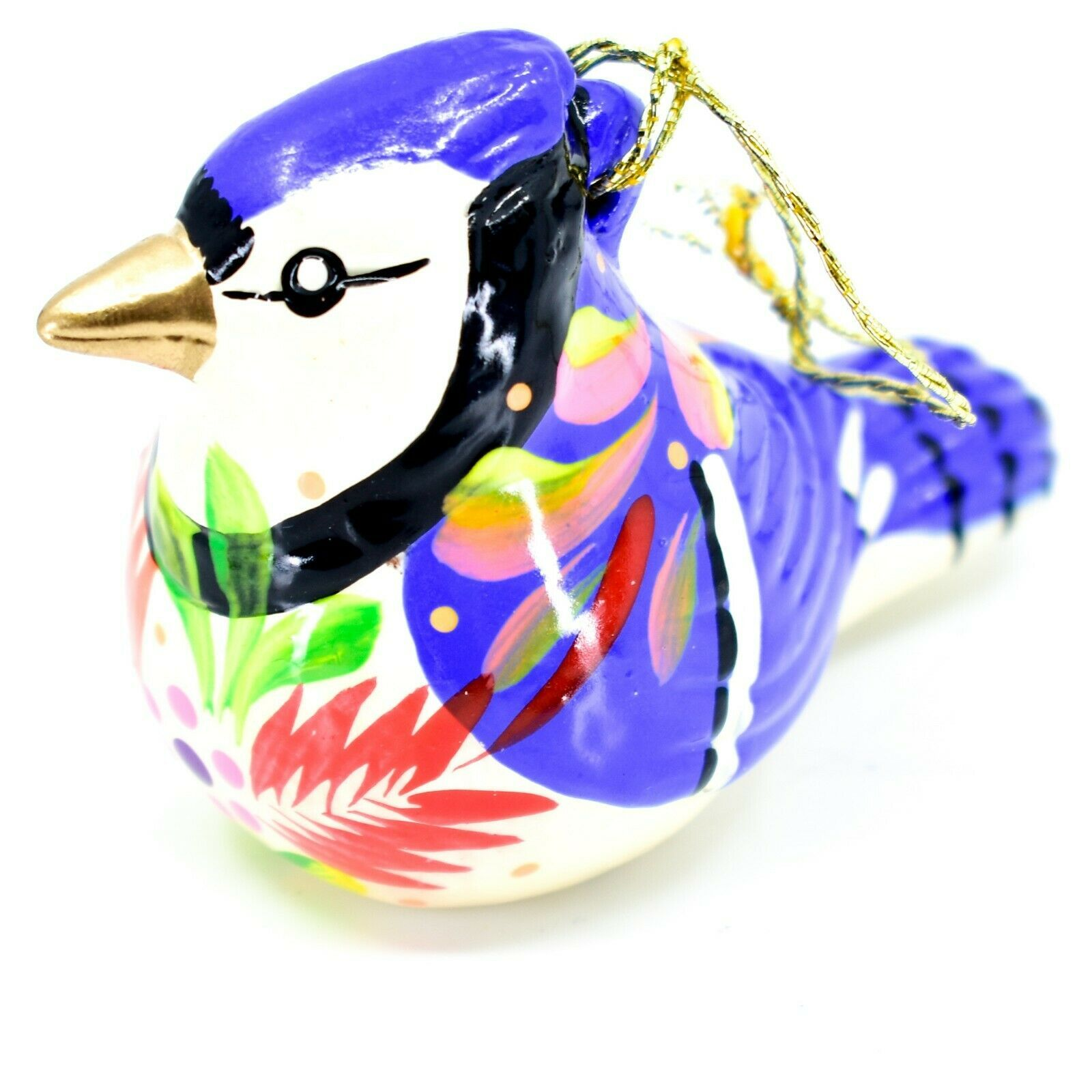 Handcrafted Painted Ceramic Blue Jay Confetti Ornament Made in Peru