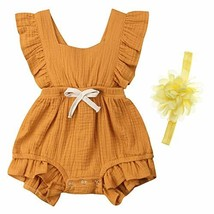 Hollyhorse Baby Girl Summer Clothes/Romper Cute Yellow, 6-12 Months - $16.21