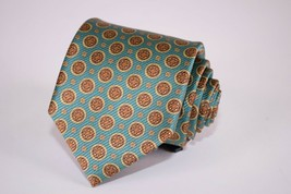 Robert Talbott NWT Best Of Class Silk Neck Tie In Teal W/ Brown Circles - $85.20
