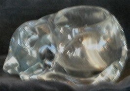 Nice Solid Art Glass Cat Shaped Votive Candle Holder, VERY GOOD CONDITION - $16.82