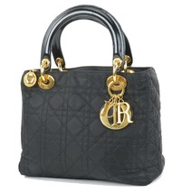 Authentic CHRISTIAN DIOR Black Quilted Nylon Lady Dior Hand Bag Purse #33033 - $759.00