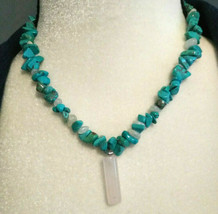 Necklace Natural Turquoise Nugget with Moonstone  Rose quartz Natural st... - $22.45